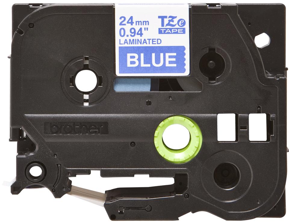 Brother TZe555:  оригинальная кассета с лентой для печати наклеек белым на синем фоне, ширина: 24 мм.