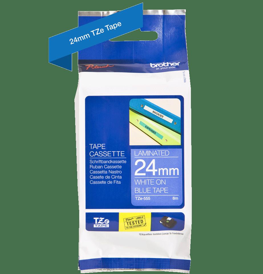 Brother TZe555:  оригинальная кассета с лентой для печати наклеек белым на синем фоне, ширина: 24 мм. 2