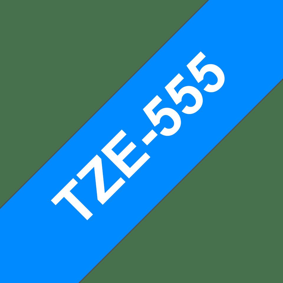 Brother TZe555:  оригинальная кассета с лентой для печати наклеек белым на синем фоне, ширина: 24 мм. 3