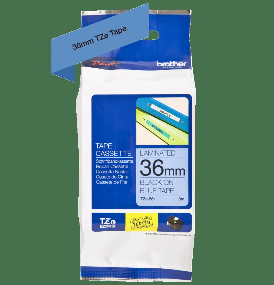 Brother TZe561: оригинальная кассета с лентой для печати наклеек черным на синем фоне, ширина: 36 мм. 2