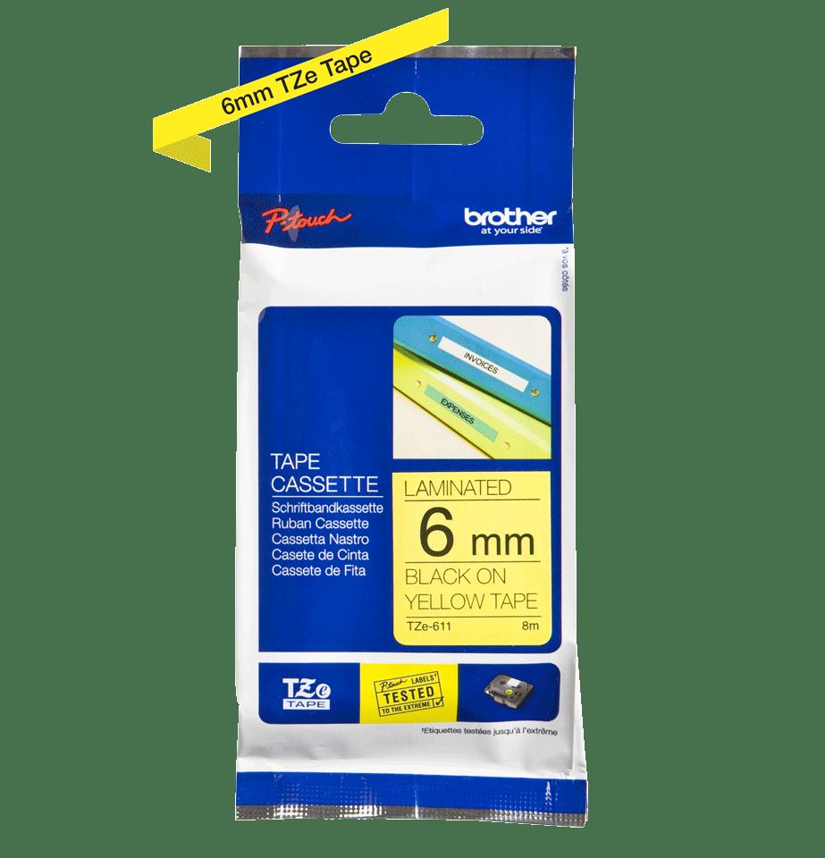 Brother TZe611: оригинальная кассета с лентой для печати наклеек черным на желтом фоне, ширина 6 мм. 2