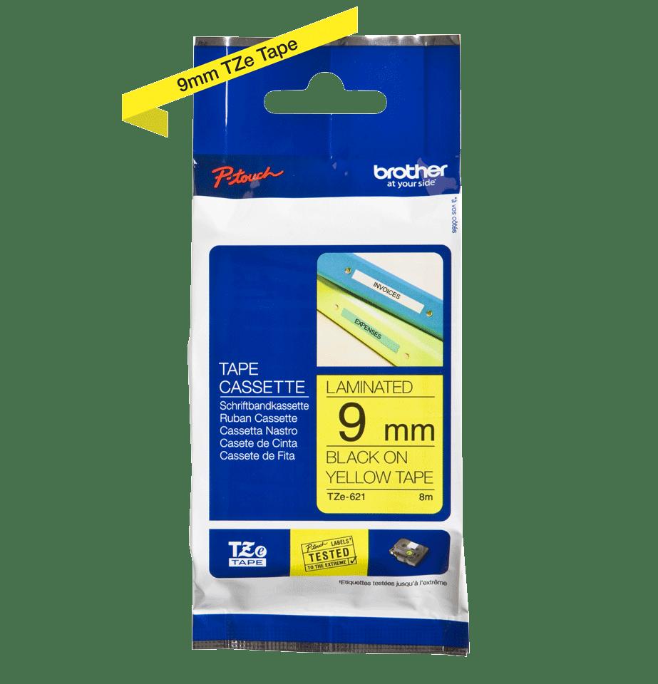 Brother TZe621: кассета с лентой для печати наклеек черным на желтом фоне, ширина: 9 мм. 2