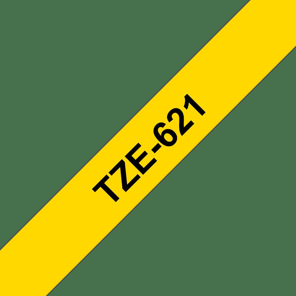 Brother TZe621: кассета с лентой для печати наклеек черным на желтом фоне, ширина: 9 мм. 3