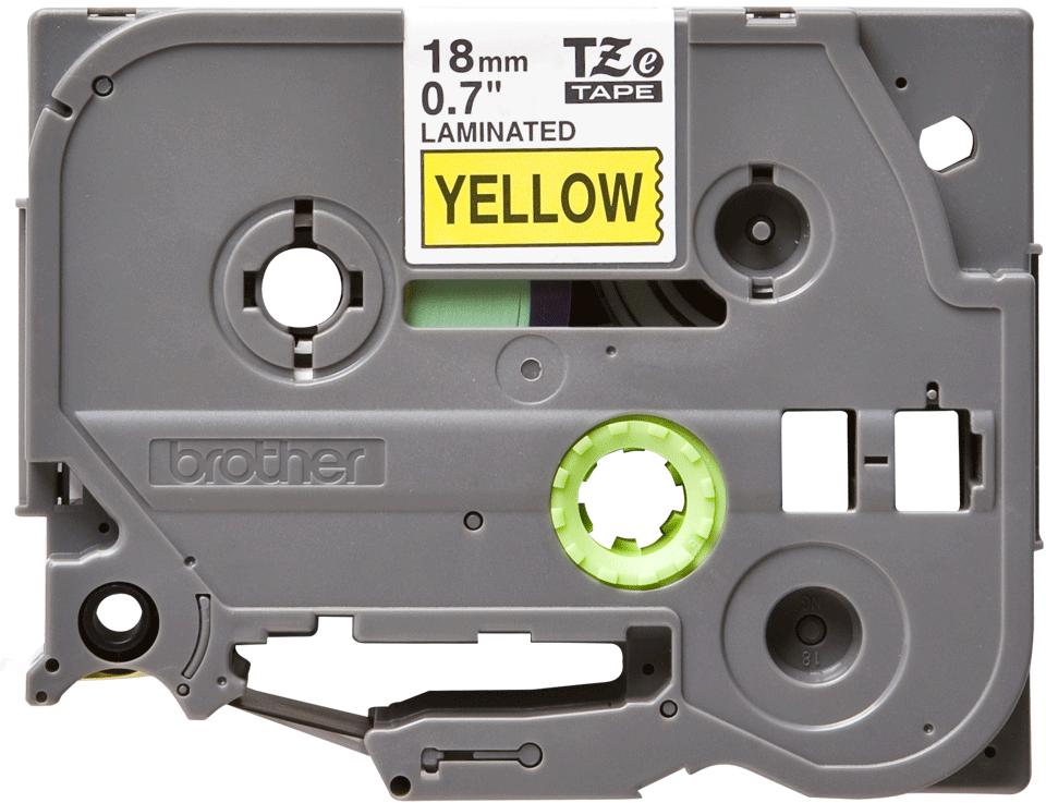 Brother TZe641: оригинальная кассета с лентой для печати наклеек черным на желтом фоне, ширина 18 мм.