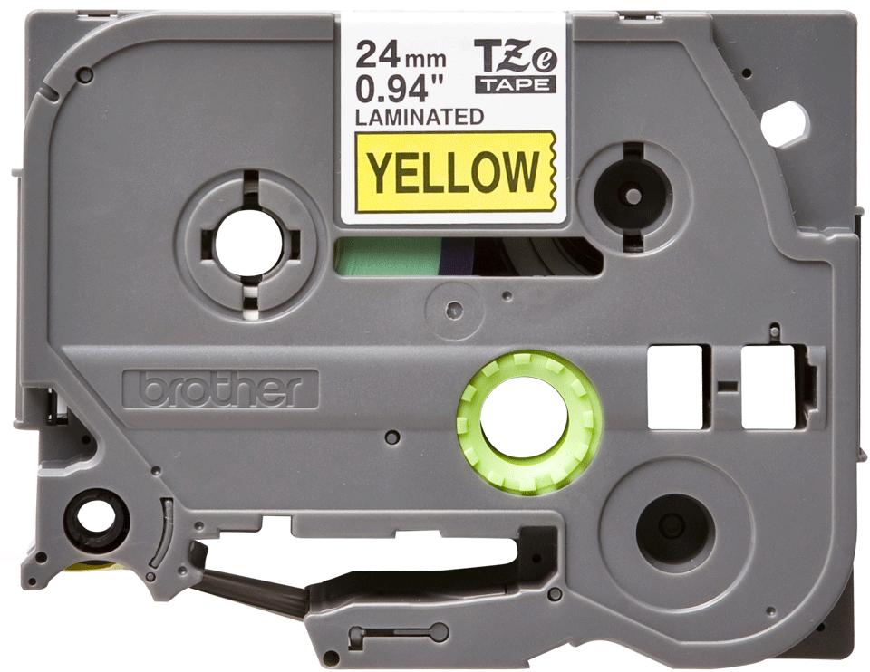 Brother TZe651: оригинальная кассета с лентой для печати наклеек черным на желтом фоне, ширина 24 мм.