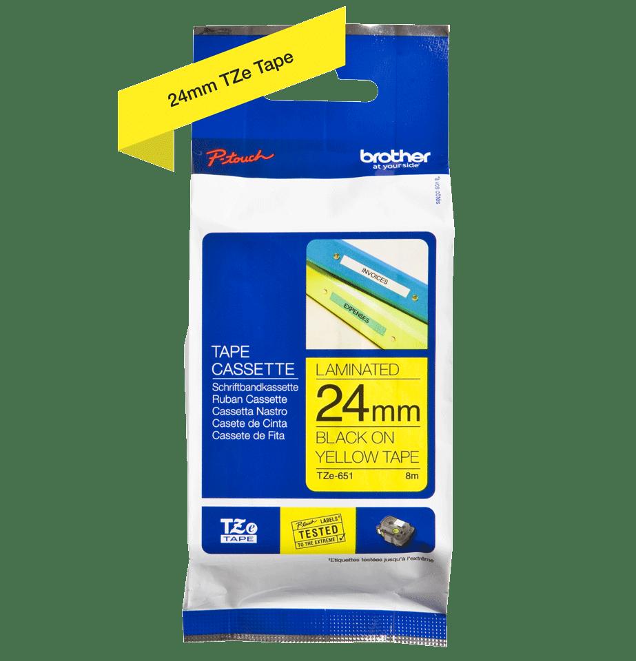 Brother TZe651: оригинальная кассета с лентой для печати наклеек черным на желтом фоне, ширина 24 мм. 2
