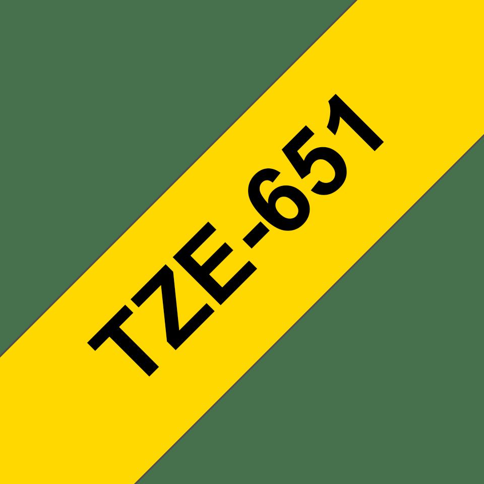 Brother TZe651: оригинальная кассета с лентой для печати наклеек черным на желтом фоне, ширина 24 мм. 3