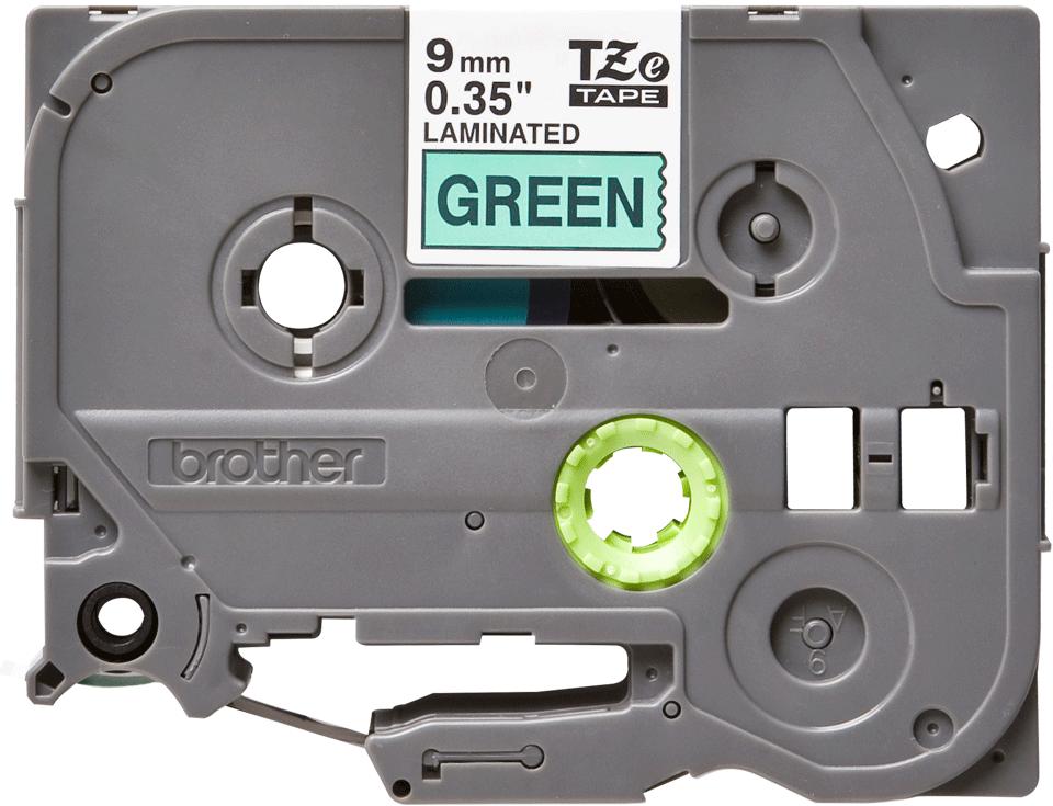 Brother TZe721: оригинальная кассета с лентой для печати наклеек черным на зеленом фоне, ширина: 9 мм.