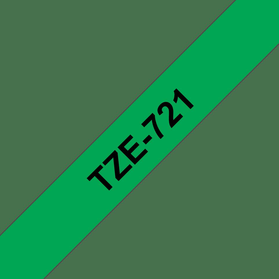 Brother TZe721: оригинальная кассета с лентой для печати наклеек черным на зеленом фоне, ширина: 9 мм. 3