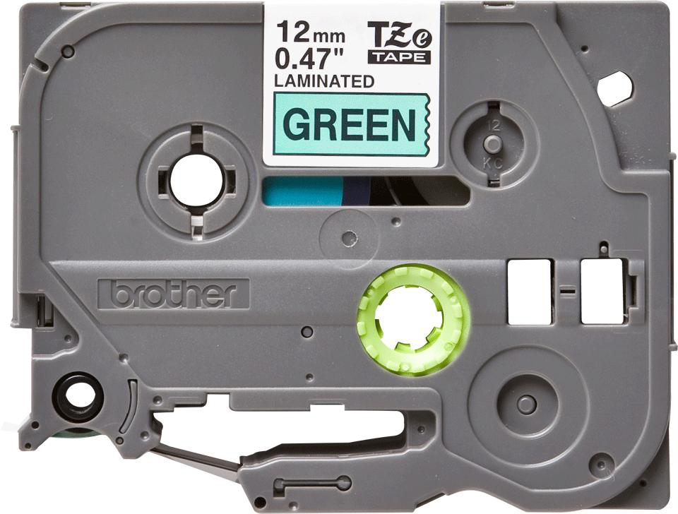 Brother TZe731: оригинальная кассета с лентой для печати наклеек черным на зеленом фоне, ширина 12 мм.