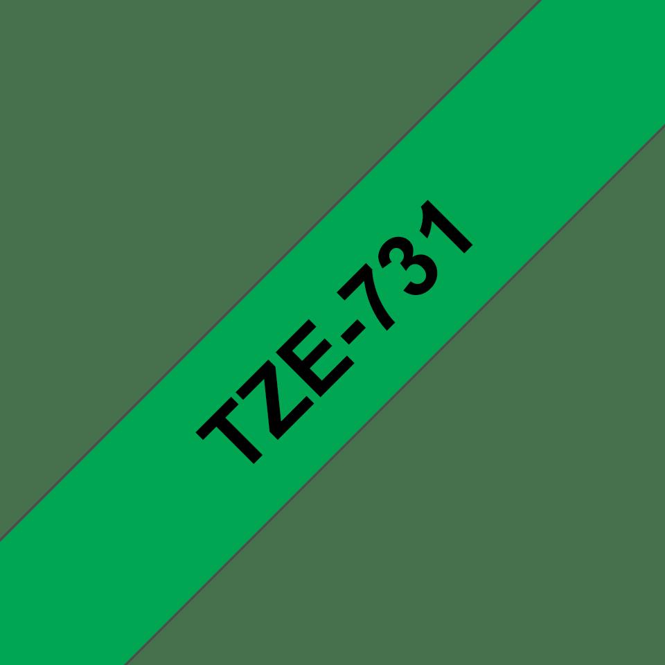 Brother TZe731: оригинальная кассета с лентой для печати наклеек черным на зеленом фоне, ширина 12 мм. 3