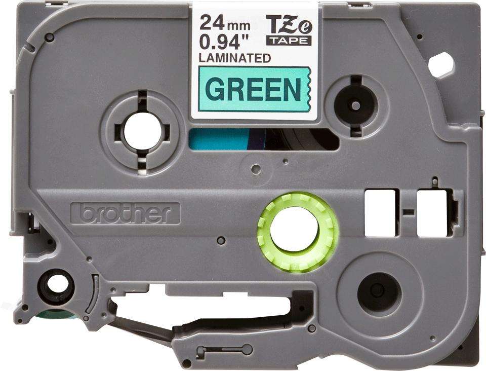 Brother TZe751: оригинальная кассета с лентой для печати наклеек черным на зеленом фоне, ширина 24 мм.
