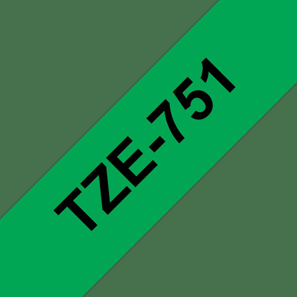Brother TZe751: оригинальная кассета с лентой для печати наклеек черным на зеленом фоне, ширина 24 мм. 3