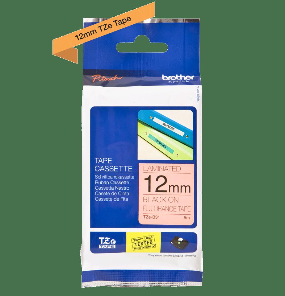 Brother TZeB31: оригинальная лента для печати наклеек, флуоресцентный оранжевый цвет, ширина: 12 мм. 2