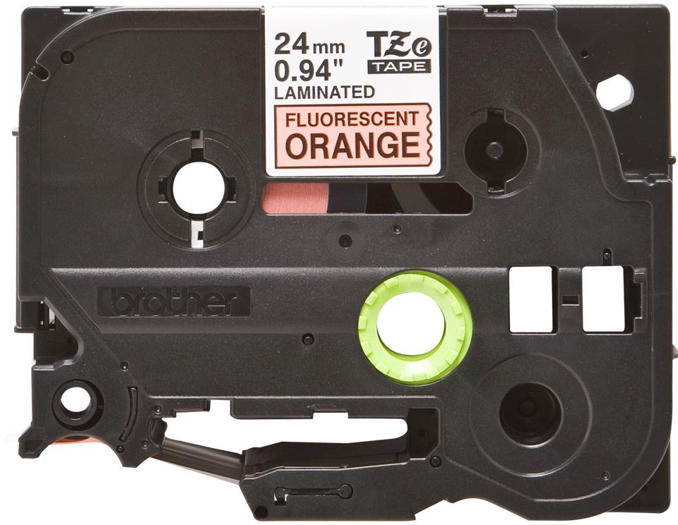 Brother TZeB51: оригинальная кассета с лентой для печати наклеек черным на флуоресцентном оранжевом фоне, ширина: 24 мм.