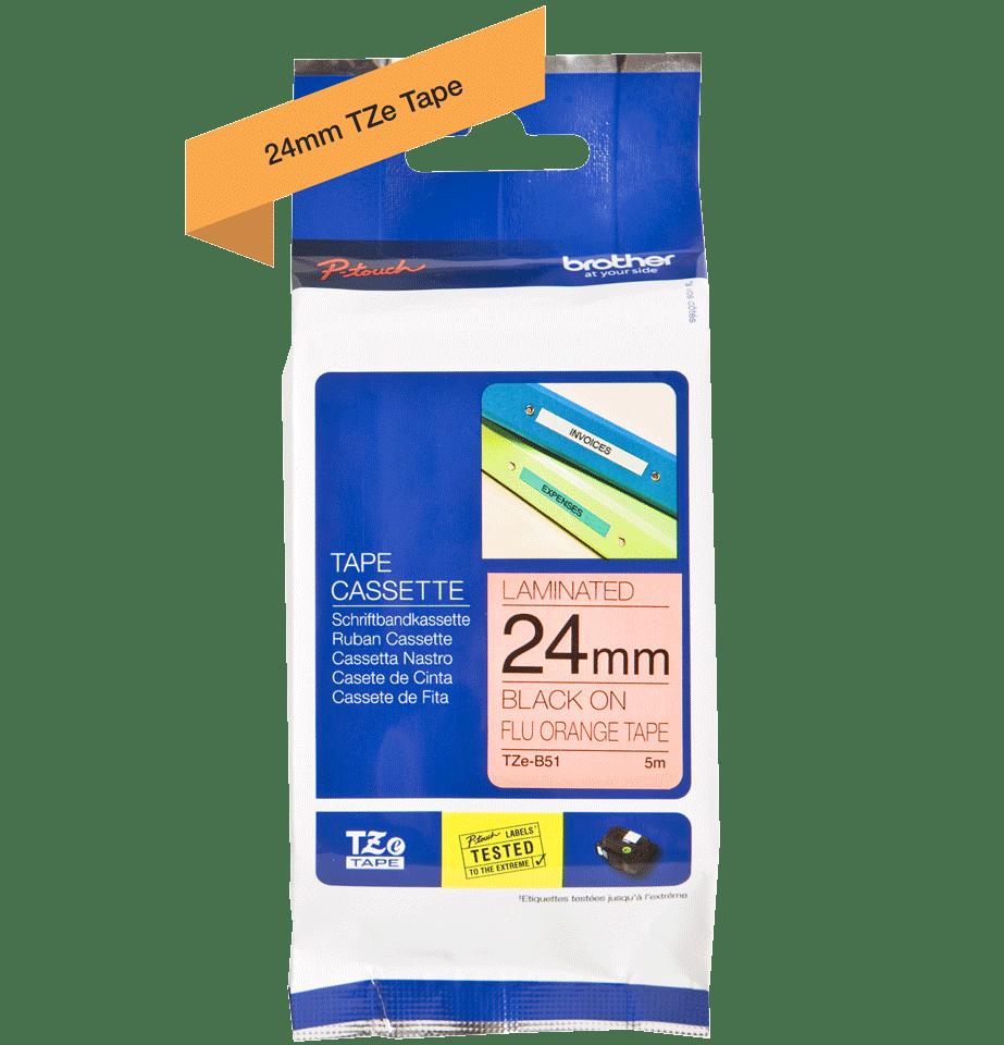 Brother TZeB51: оригинальная кассета с лентой для печати наклеек черным на флуоресцентном оранжевом фоне, ширина: 24 мм. 2