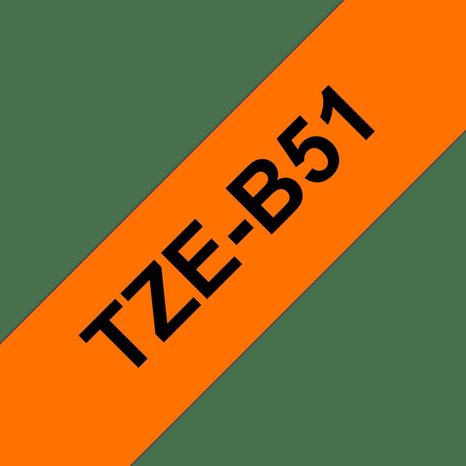 Brother TZeB51: оригинальная кассета с лентой для печати наклеек черным на флуоресцентном оранжевом фоне, ширина: 24 мм. 3