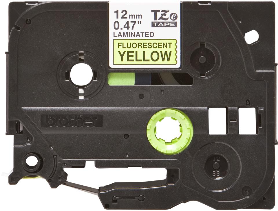 Brother TZeC31: оригинальная кассета с лентой для печати наклеек черным на флуоресцентном желтом фоне, ширина: 12 мм.