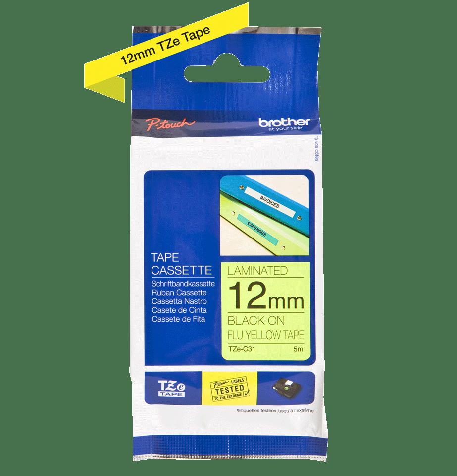 Brother TZeC31: оригинальная кассета с лентой для печати наклеек черным на флуоресцентном желтом фоне, ширина: 12 мм. 2
