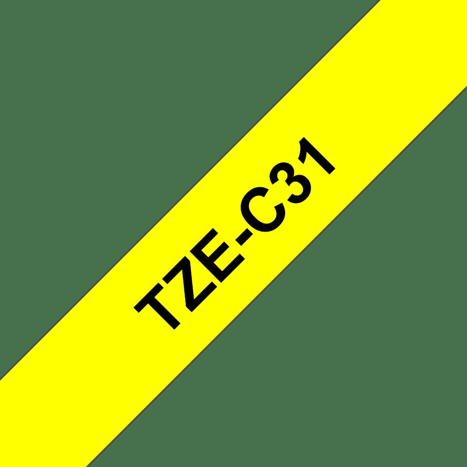 Brother TZeC31: оригинальная кассета с лентой для печати наклеек черным на флуоресцентном желтом фоне, ширина: 12 мм. 3