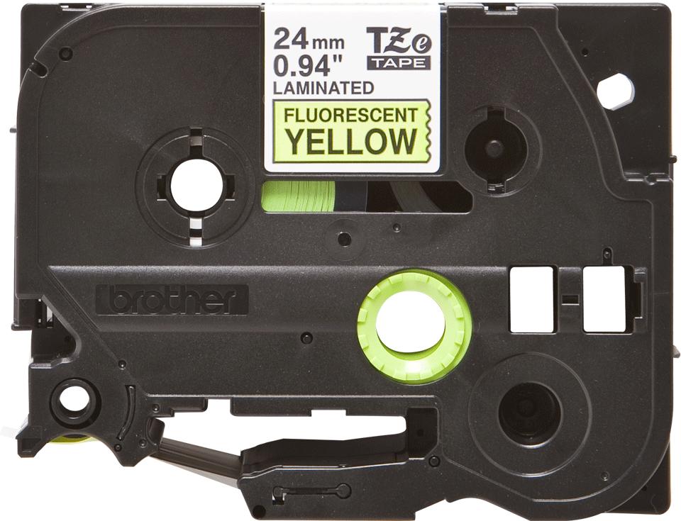 Brother TZeC51: оригинальная кассета с лентой для печати наклеек черным на флуоресцентном желтом фоне, ширина: 24 мм.
