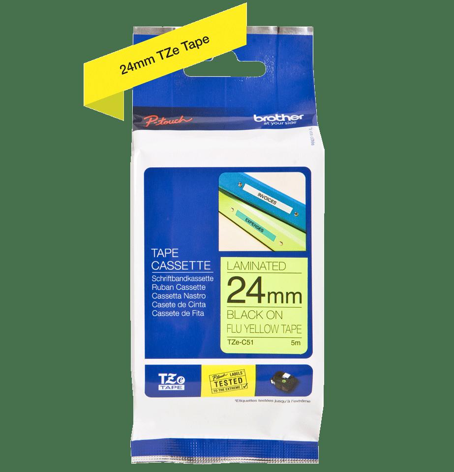 Brother TZeC51: оригинальная кассета с лентой для печати наклеек черным на флуоресцентном желтом фоне, ширина: 24 мм. 2