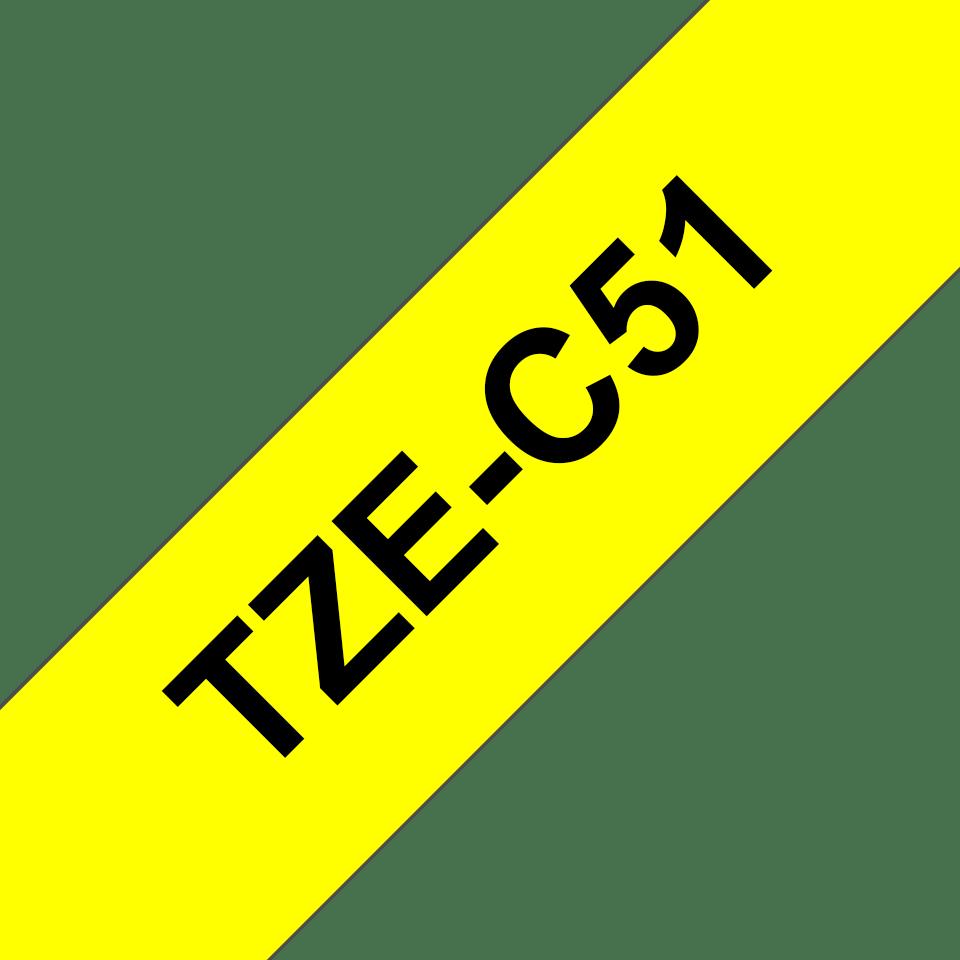 Brother TZeC51: оригинальная кассета с лентой для печати наклеек черным на флуоресцентном желтом фоне, ширина: 24 мм. 3