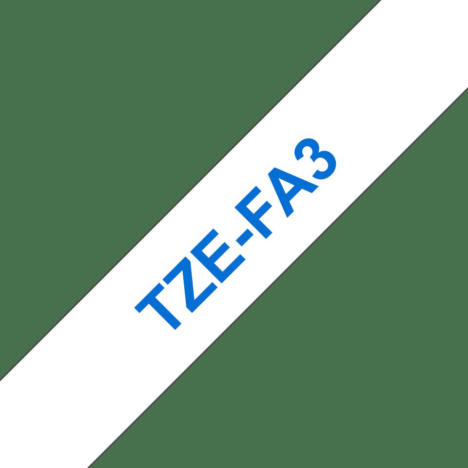 Brother TZeFA3: оригинальная тканевая лента для печати синим на белом фоне для принтеров P-touch, ширина: 12 мм. 3