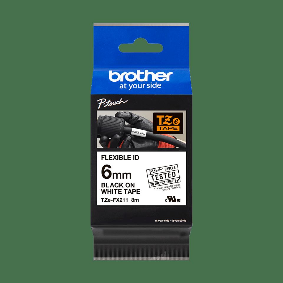 Brother TZeFX211: оригинальная кассета с лентой для печати наклеек черным на белом фоне с универсальным ИД, ширина: 6 мм. 2