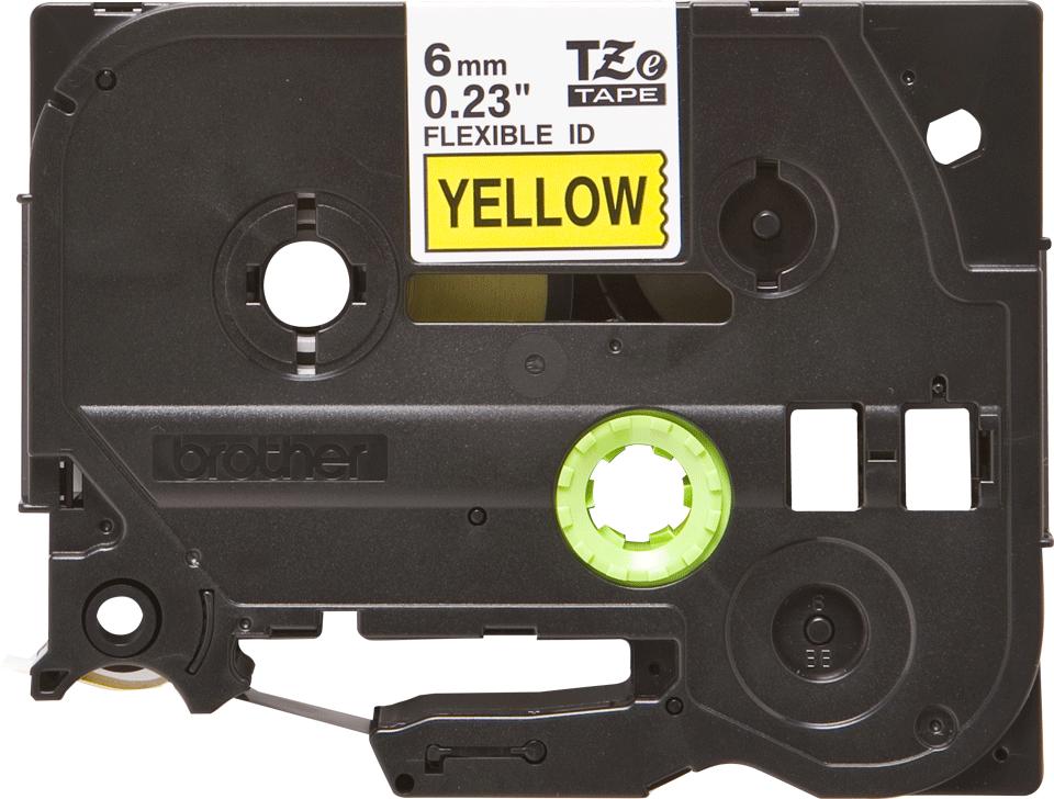 Brother TZeFX611: оригинальная кассета с лентой для печати наклеек черным на желтом фоне с универсальным ИД, ширина: 6 мм.