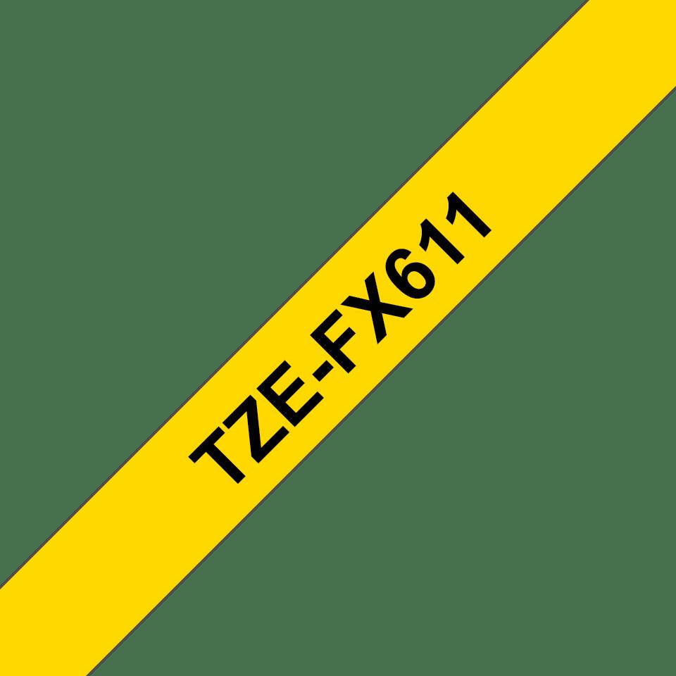 Brother TZeFX611: оригинальная кассета с лентой для печати наклеек черным на желтом фоне с универсальным ИД, ширина: 6 мм. 3