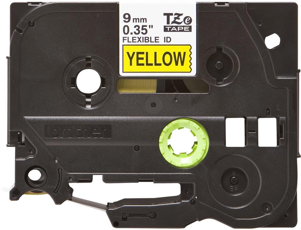 Brother TZeFX621: оригинальная кассета с лентой для печати наклеек черным на желтом фоне с универсальным ИД, ширина: 9 мм.