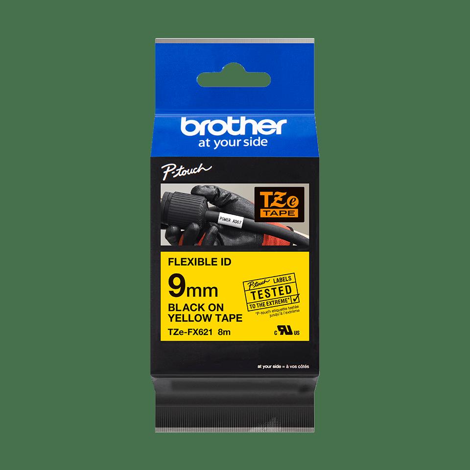 Brother TZeFX621: оригинальная кассета с лентой для печати наклеек черным на желтом фоне с универсальным ИД, ширина: 9 мм. 2