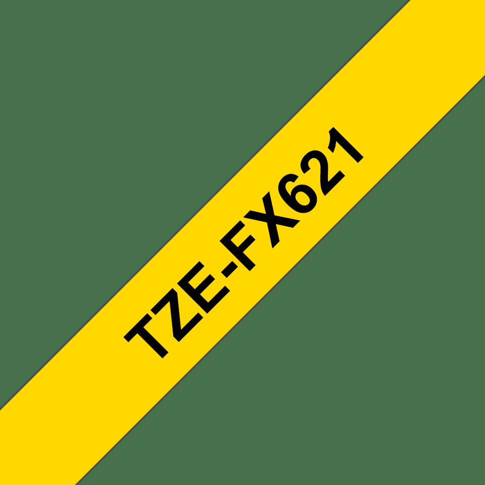 Brother TZeFX621: оригинальная кассета с лентой для печати наклеек черным на желтом фоне с универсальным ИД, ширина: 9 мм. 3