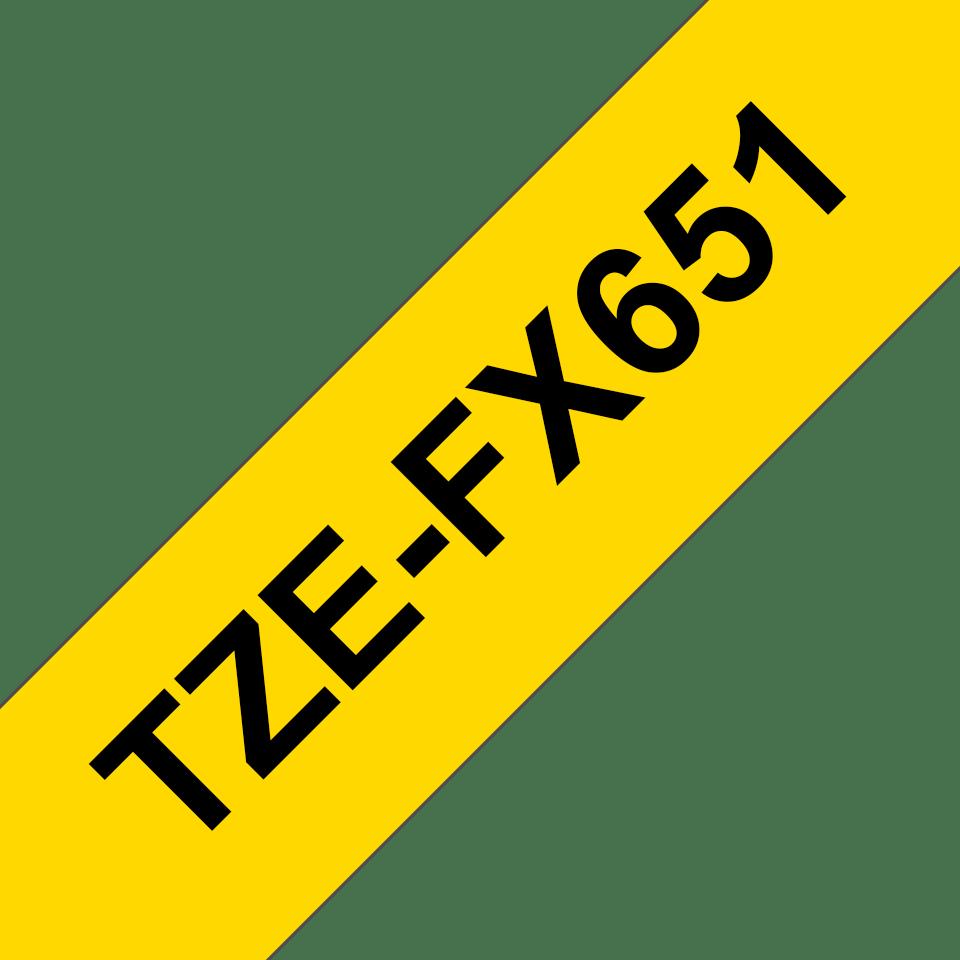 Brother TZeFX651: оригинальная кассета с гибкой лентой для печати надписей черным на желтом фоне, ширина: 24 мм. 3