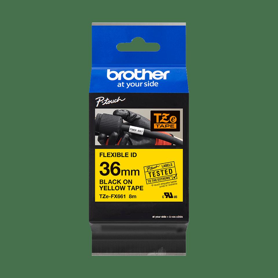 Brother TZeFX661: оригинальная кассета с лентой для печати наклеек черным на желтом фоне с универсальным ИД, ширина: 36 мм. 2