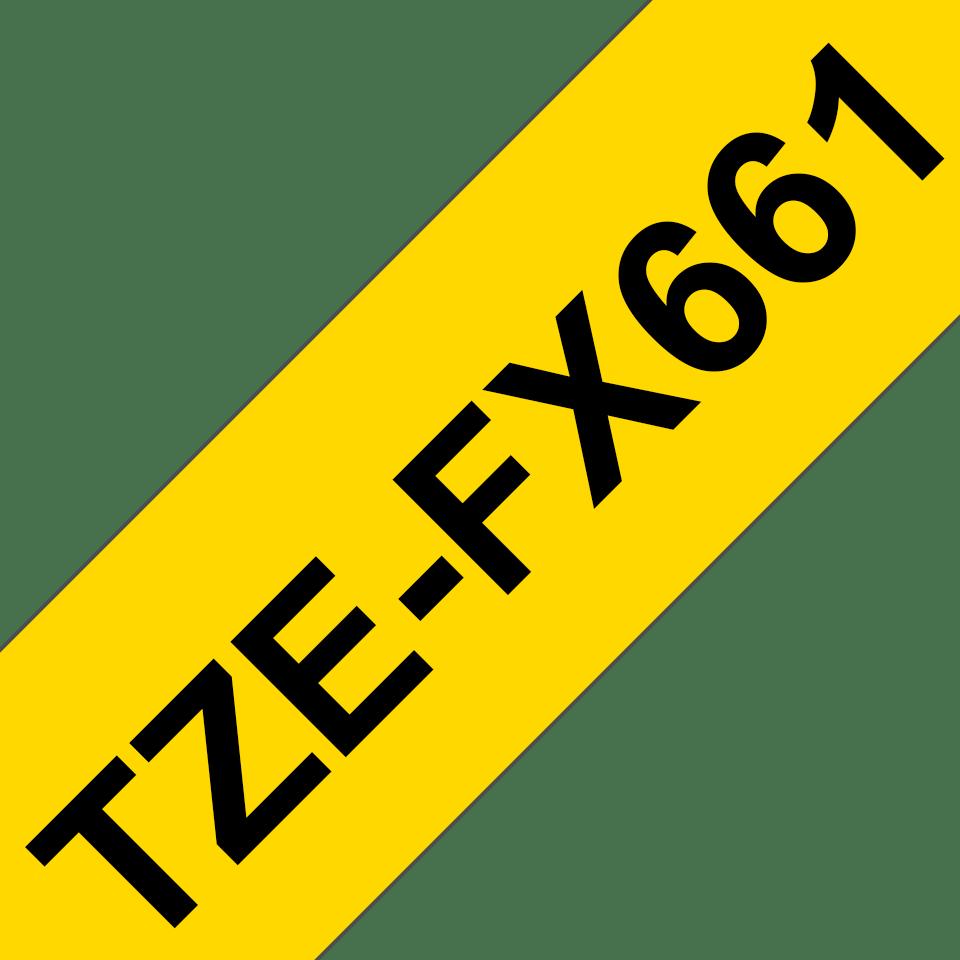 Brother TZeFX661: оригинальная кассета с лентой для печати наклеек черным на желтом фоне с универсальным ИД, ширина: 36 мм. 3