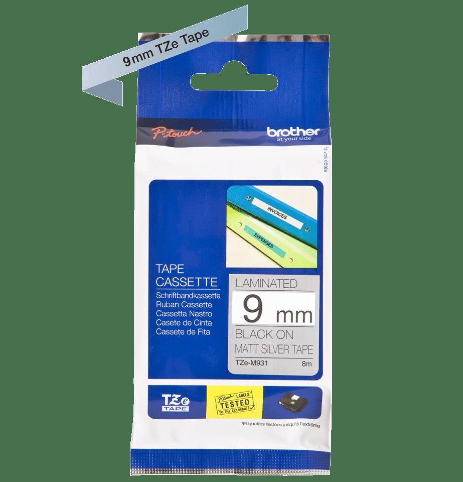 Brother TZeM921: оригинальная кассета с лентой для печати наклеек черным на матовом серебристом фоне, ширина: 9 мм. 2