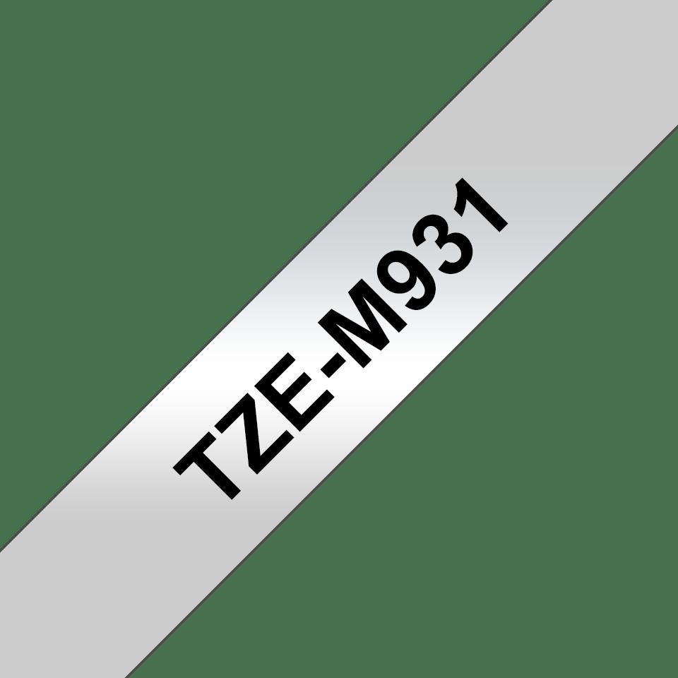 Brother TZeM931: оригинальная кассета для печати наклеек  черным на матовом серебристом фоне, ширина: 12 мм. 3