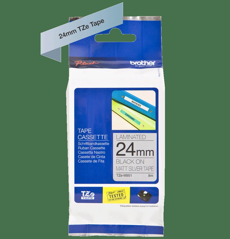 Brother TZeM951: оригинальная лента для печати наклеек на принтере PTouch, черным на серебристом матовом фоне, ширина: 24 мм. 2