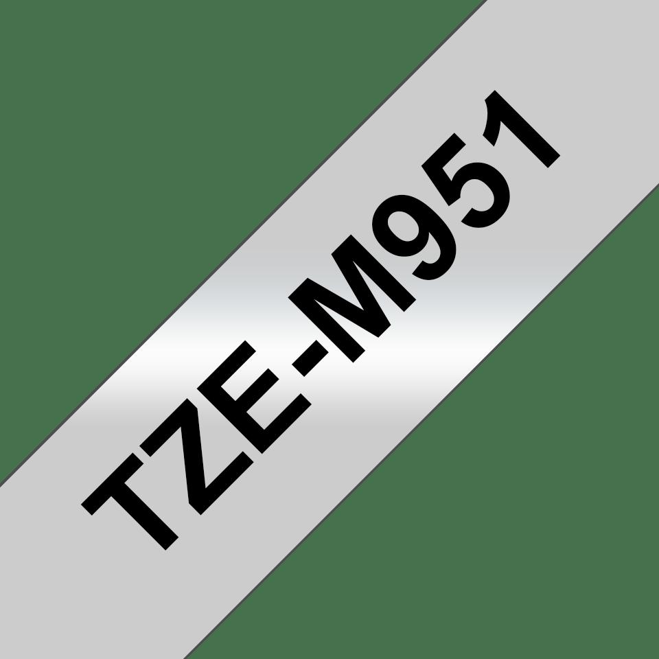 Brother TZeM951: оригинальная лента для печати наклеек на принтере PTouch, черным на серебристом матовом фоне, ширина: 24 мм. 3