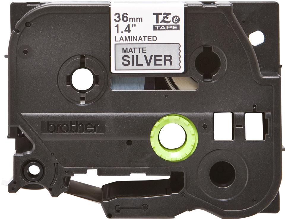 Brother TZeM961: оригинальная кассета с лентой для печати наклеек черным на матовом серебристом фоне, ширина: 36 мм.