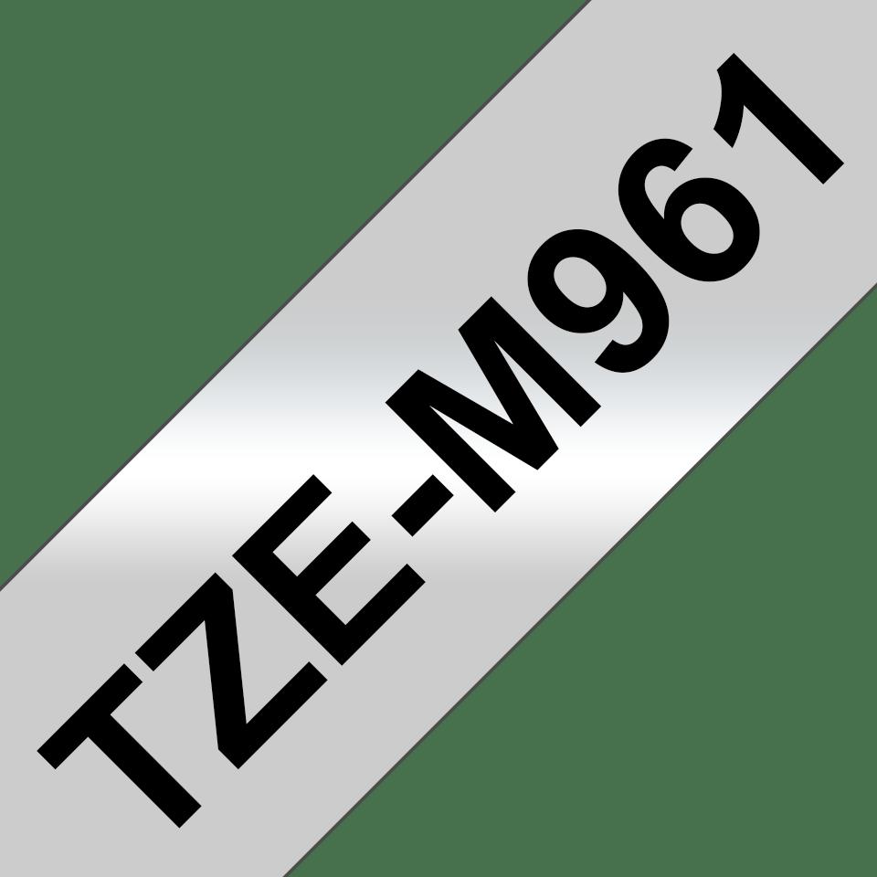Brother TZeM961: оригинальная кассета с лентой для печати наклеек черным на матовом серебристом фоне, ширина: 36 мм. 3