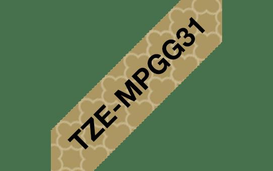 TZeMPGG31: оригинальная кассета с лентой для печати наклеек черным на золотистом фоне, ширина 12 мм.  3