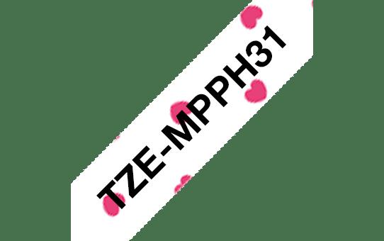 TZeMPPH31: оригинальная кассета с лентой для печати наклеек черным на белом фоне с розовыми сердечками, ширина 12 мм. 3