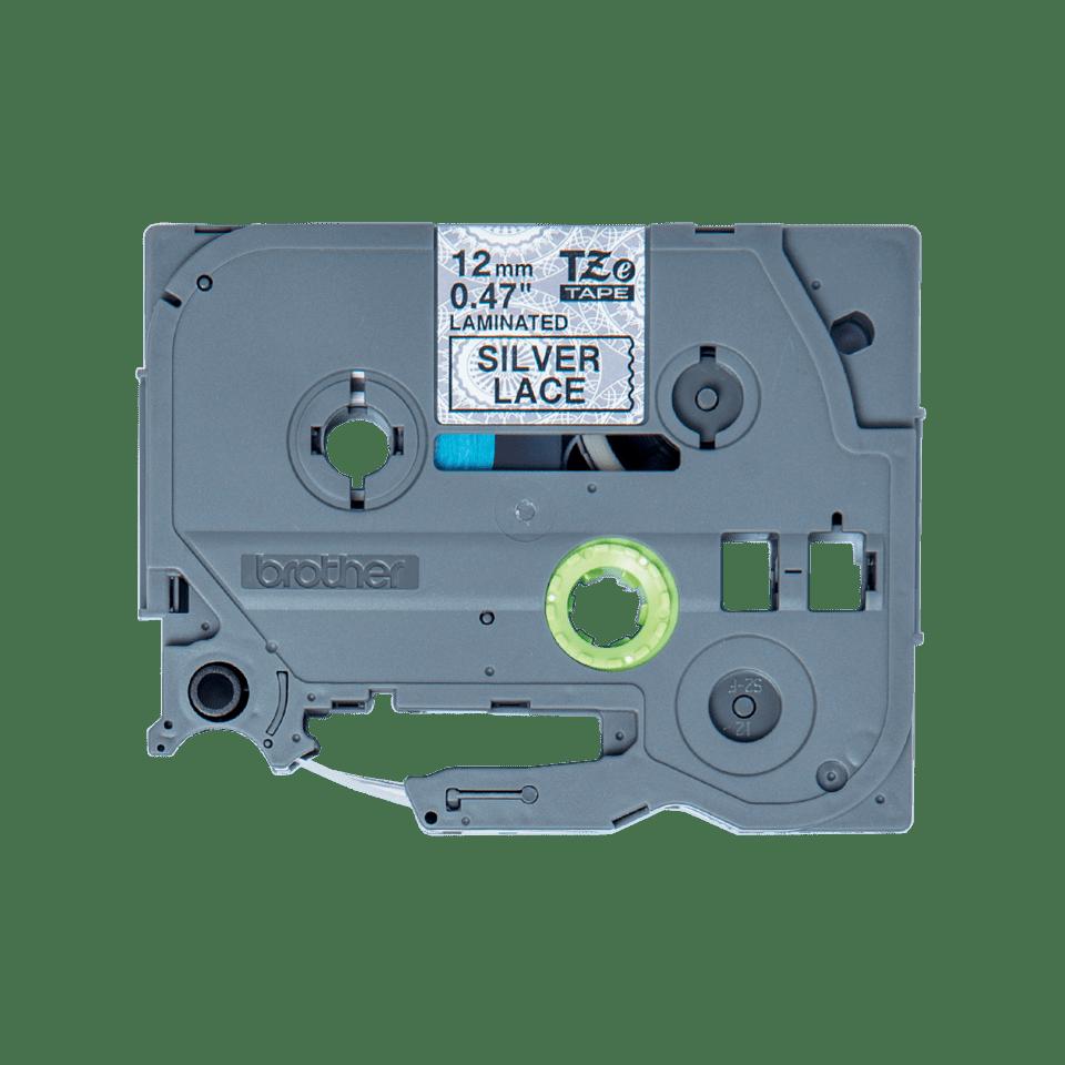 TZeMPSL31: оригинальная кассета с лентой для печати наклеек черным на  фоне серебристого орнамента в виде кружева, ширина 12 мм.