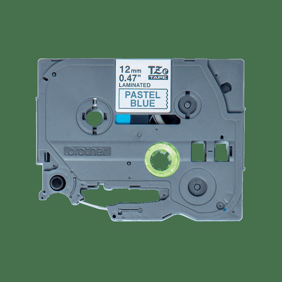 TZeMQ531: оригинальная кассета с лентой для печати наклеек черным на пастельно-голубом фоне, ширина 12 мм.