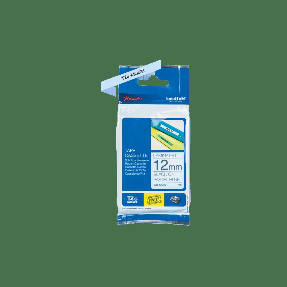 TZeMQ531: оригинальная кассета с лентой для печати наклеек черным на пастельно-голубом фоне, ширина 12 мм. 2