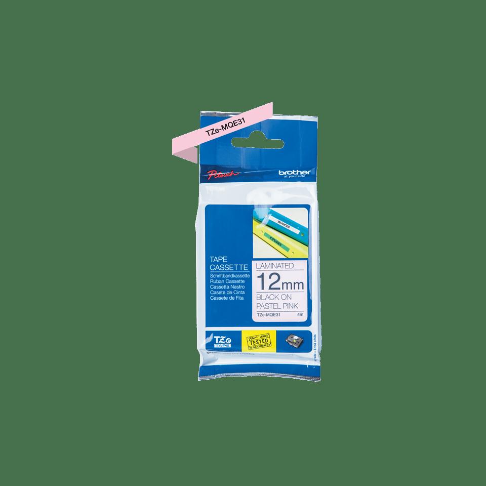 TZeMQE31: оригинальная кассета с лентой для печати наклеек черным на пастельно-розовом фоне, ширина 12 мм. 2