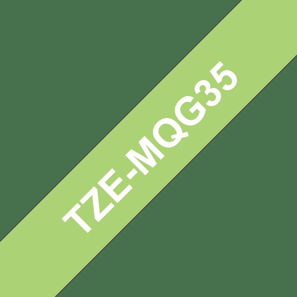 TZeMQG35: оригинальная кассета с лентой для печати наклеек белым на лаймово-зеленом фоне, ширина 12 мм. 3